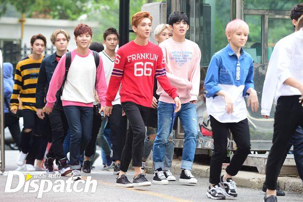 [PRESS] 150911 Seventeen heading to KBS Music Bank Rehearsal 11