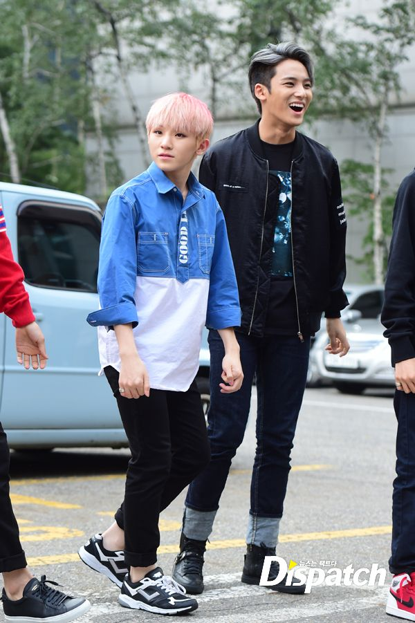[PRESS] 150911 Seventeen heading to KBS Music Bank Rehearsal 13