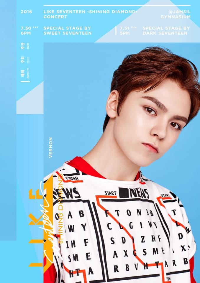[SEVENTEEN] 2016 'LIKE SEVENTEEN – #Shining_Diamond CONCERT' Poster 03 #버논 #우지 #에스쿱스 (2)